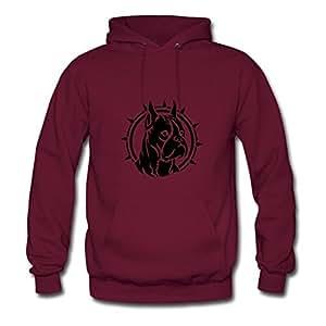 Boxer Dog Burgundy Designed Women Regular Sweatshirts - X-large