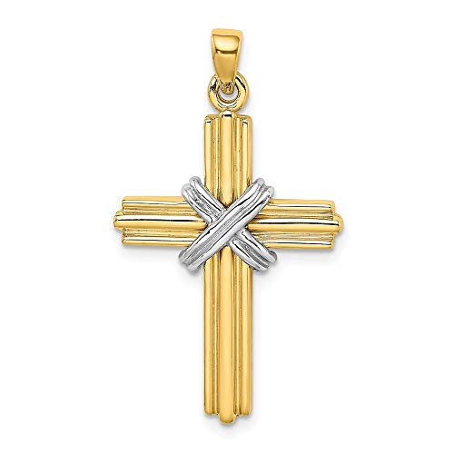 (14k Gold Rhodium-Plated Passion Cross Pendant)