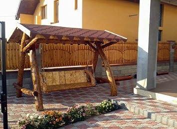 Casa Padrino Garden Swings Rustic roofed Porch Swing Mod S1 - Oak ...