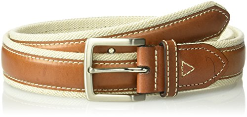 Tommy Bahama Men's 1.5 in. Canvas Belt With Genuine Leather Overlay, natural, ()