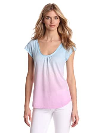 Calvin Klein Jeans Women's Scoop Gathered Neck Top, Optic Pink, X-Small
