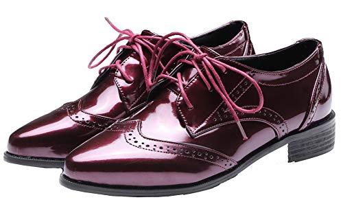 Chaussures Cuir Légeres D'orteil gmbdb012042 Fermeture Femme Talon Bas Rouge Lacet Vineux Agoolar À Pu RtHzwq