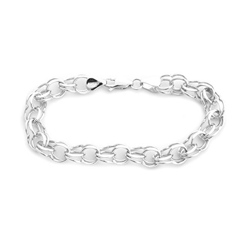 Solid 14k White Gold 8mm Solid Round Double Link Chain Bracelet, - Round Link Double Chain