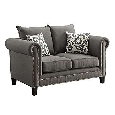 Bowery Hill Fabric Loveseat in Gray
