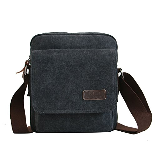 black Messenger Canvas Purse Small black Bag Shoulder Vintage Simplicity Multipurpose Men's Mongshop XvxA8q48