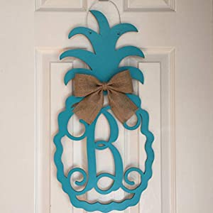 Monogram Pineapple Door Hanger - Summer Door Hanger - Pineapple Initial Wreath - Beach Door Hanger - Pineapple Wreath - Beach Door Decor 41