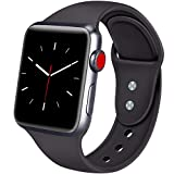 ATUP Sport Band Compatible with Apple Watch 38mm 40mm 42mm 44mm Women Men, Soft Silicone Replacement Bands for iWatch Apple Watch Series 4, Series 3, Series 2, Series 1 (Black, 42mm/44mm-M/L)