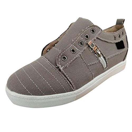Respctful✿Canvas Shoes for Women Slip On Sneakers Round Toe Platform Flat Heel Buckle Strap Casual Walking Shoes Gray