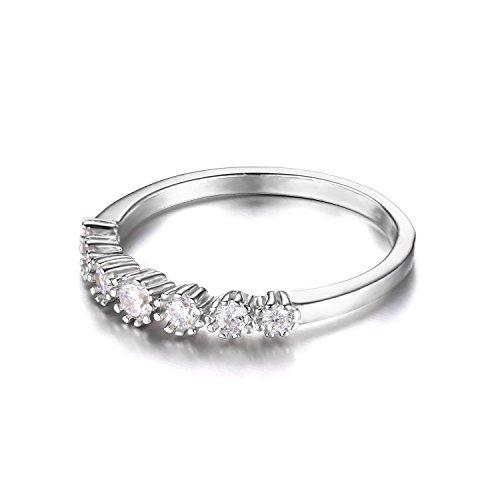 JewelryPalace 0.32ct Magnifique Bague de Fiançailles Femme Alliance Mariage Anniversaire Anneau Fleur en Argent Sterling 925 en Zircon Cubique de Synthèse CZ