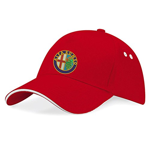 avstickerei Alfa Romeo Car Embroidered Baseball Caps 100% Cotton - k023 (Rot)