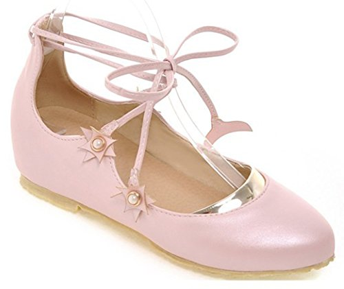 [IDIFU Women's Sweet Lace Up Ankle Strap Pointed Toe Flat Heighten Ballet Shoes Sandals Pink 8 B(M) US] (Pink Flat Ballet Pump)