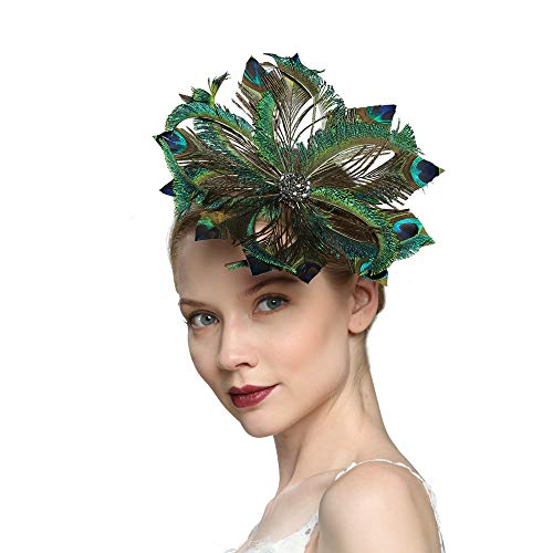 VIMARO Peacock Fascinator Hat, Peacock Fascinators for Women, Tea Party Kentucky Derby Hats for Women ()