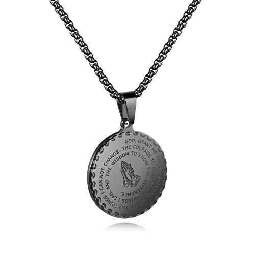 - TENGYI 18K Gold Plated Stainless Steel St Saint Benedict Medal Pendant with 24 Inch Chain Necklace (D3:Praying Hands Black)