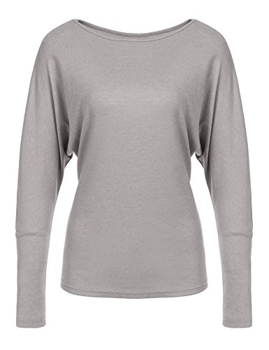 Long Sleeve Boatneck Top (Pinspark Women Casual Loose Drape Blouse Round Neck Batwing Sleeve Tunic Top 2grey Large)