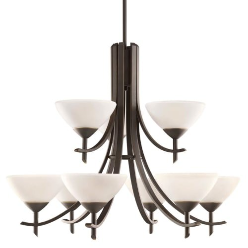 Kichler Lighting 1680OZW Olympia 9-Fluorescence 2-Tier Chandelier, Olde Bronze Finish with Satin Etched White Glass