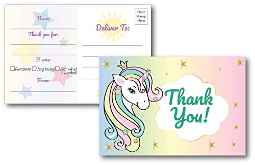 25 Fill In Unicorn Thank You Cards For Kids Birthday Party Perfect Baby Shower Bridal Decorations Postcard Style Option No