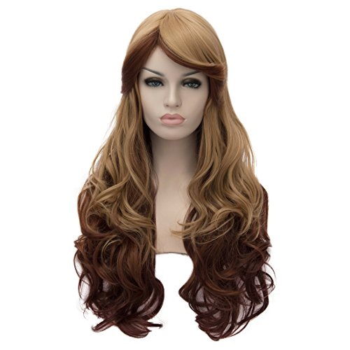 Alacos 70cm Long Heat Resistant Hair Multicolored Cosplay Wigs for Women+ Wig Cap (Khaki Color) (Colored Imported Multi Casual)