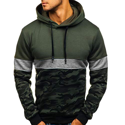 (Men Camouflage Pullover Hoodie Long Sleeve Hooded Sweatshirt Camo Tops)