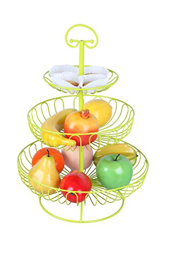 3 Tier Decorative Fruit Basket - Yellow - 16 Inches