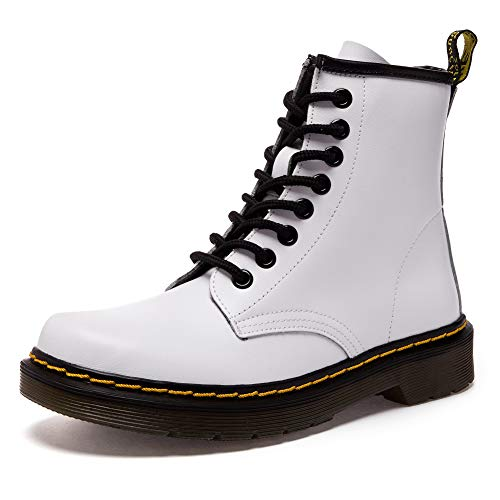 fereshte Women#039s Leather Motorcycle Combat Boots Laceup Flat Ankle Bootie White EU39