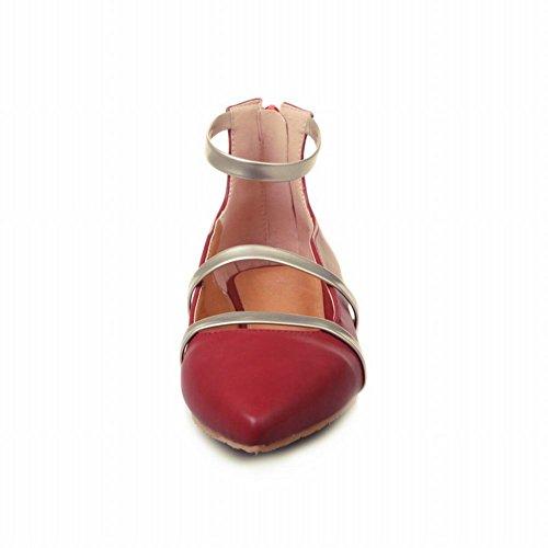 Carolbar Mujer's Pointed Toe Strap Zip Zip Retro Casual Zapatos Zapatos De Color Rojo Vino