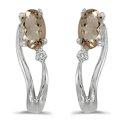 FB Jewels Solid 14k White Gold Studs Genuine Birthstone Oval Smokey Topaz And Diamond Wave Earrings (0.3 Cttw.)