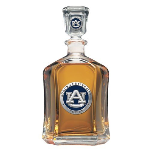 Team Color Logo Auburn Tigers Decanter Glass Bottle by Heritage Pewter