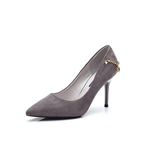 Ajunr Moda/elegante/Transpirable/Sandalias Zapatos de punta 8cm talones Gris Los zapatos de trabajo Toda la correspondencia Bien con los zapatos ,35 35