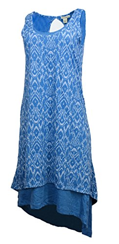 Mod-o-doc Womens Keyhole Back High-Low Hem Tank Dress (Large, Sailor)