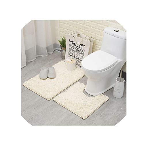 Anti Slip Bathroom Floor Mat Machine Washable Microfiber Chenille Bath Mats Toilet Door Mat Outdoor Shower Room Rugs And Mats,Violet,500Mmx1000Mm