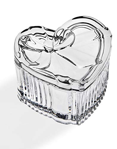 Godinger Crystal Heart Shaped Gift Box with Bow, Holiday Jewelry Trinket Holder, Candy Dish