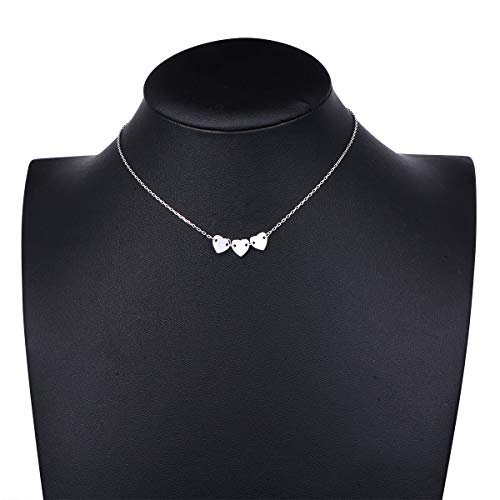 (S925 Sterling Silver Choker 3 Heart Clavicle Dainty Short Pendant Necklace for Women Girl)