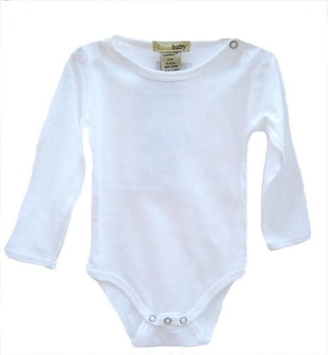L'ovedbaby Long-Sleeve Bodysuit, White 9-12 Months