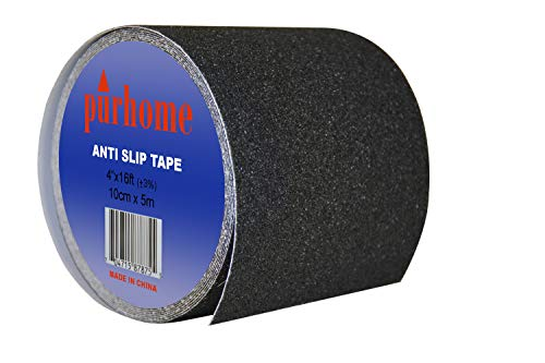 Indoor/Outdoor Black Anti Slip Safety Strips Non Skid Adhesive Stair Tread Strip Roll (Black, Length: 16 feet by Width: 4 Inch)