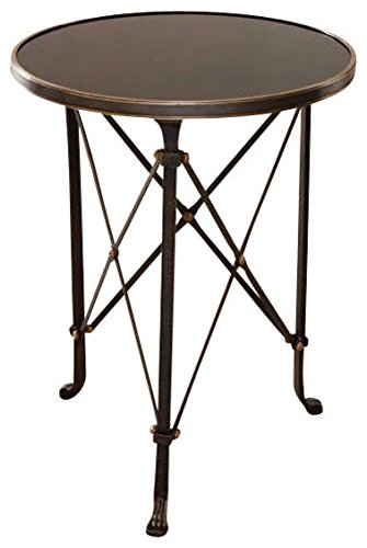 (Global Views Retro Parisian Architectural Style Round Accent Table | Black Granite Iron)