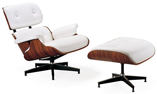 Mid Century Modern Classic Rosewood Plywood Lounge Chair Ottoman With White Premium High Grade PU Leather Eames Style Replica