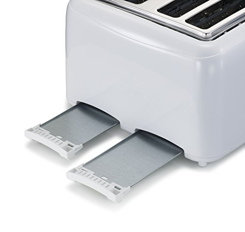 Bonsaii T869 Stylish 4-Slice Toaster with 6 Temperature Control; Cancel Button and Easy Clean Removable Crumb Tray, White