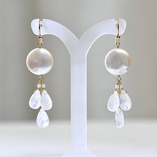 Moonstone Yellow Earrings - 14K Gold. Rainbow Moonstone Earrings. Freshwater pearl Earrings, 14K Yellow Gold , White stone Earrings, Weddings, June Birthstone, 14KYG