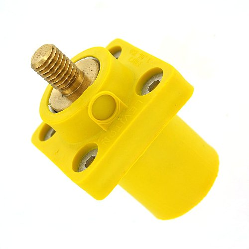 Leviton 16R23-OUY 16-Series Taper Nose, Male, Panel Receptacle, 90°, Threaded Stud, Cam-Type Connector, Yellow