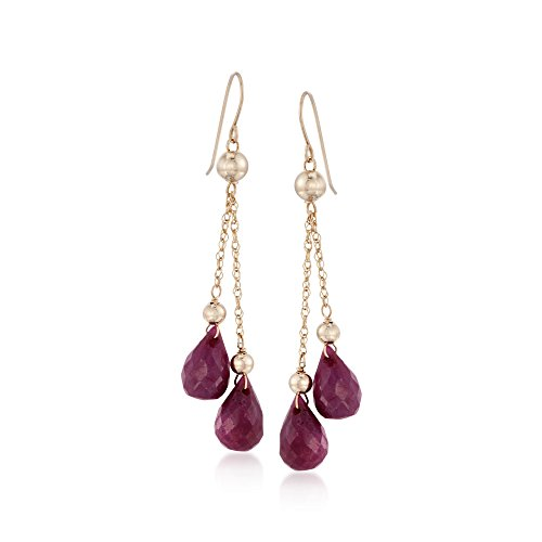 (Ross-Simons 15.00 ct. t.w. Ruby and Bead Double Drop Earrings in 14kt Yellow Gold)