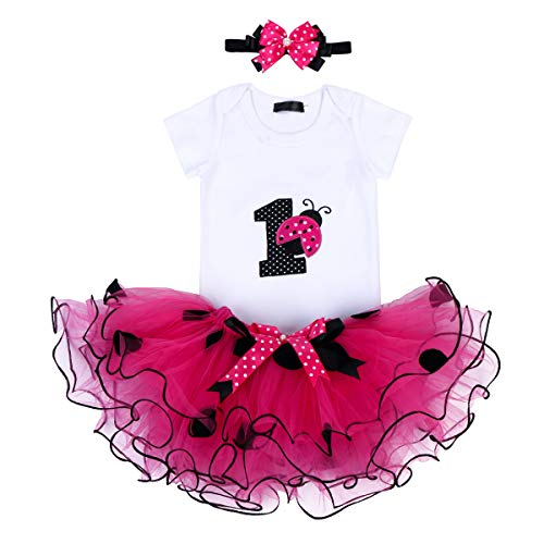 It's My First 1st Birthday Outfit Baby Girls Ladybug Romper + Ruffle Tulle Skirt + Polka Dot Bowknot Headband Shiny Party Princess Dress up Costume for Cake Smash Photo Shoot Fall Clothes Hot Pink 1T