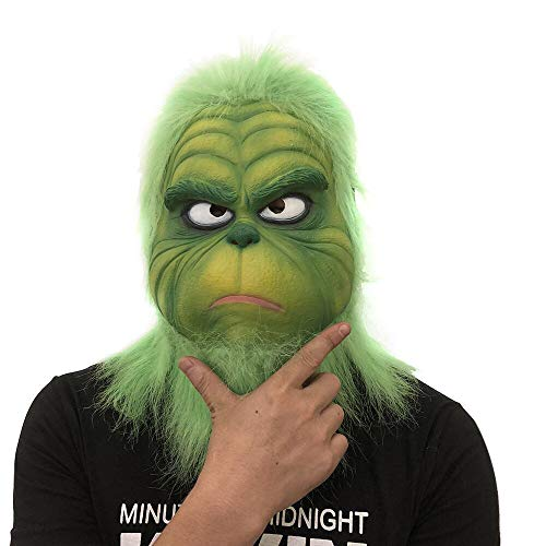 Weite Adults Kids Funny Green Full Head Cosplay Grinch Mask - Natural Harmless Scentless Melting Face Latex Scary Mask Toy Novelty Christmas Party Costume Props -