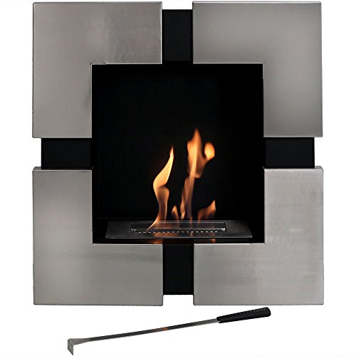 Sunnydaze Chaleur Indoor Wall Mounted Fireplace, Ventless Bio-Ethanol, 23-Inch