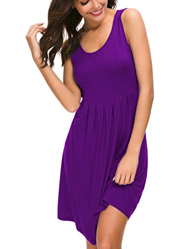 - U.Vomade Women Summer Casual Knee Length Dresses Beach Plain Pleated Tank Dress Purple L