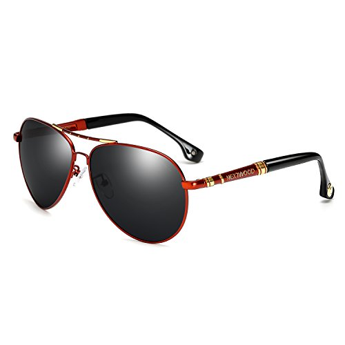 Classic Sunglasses Fashion Polarized Leisure Travel Cold Pilot Metal Frame 6 Color Golf Phishing Shading Mirror …(Red frame black - Hm Sunglasses