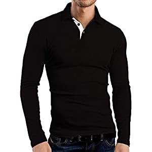 KUYIGO Men's Long Sleeve Polo Shirts Casual Slim Fit Basic Designed Cotton Shirts