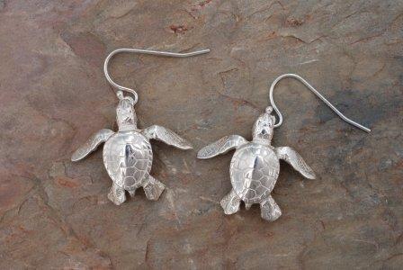 Sterling Silver Sea Turtle Hatchling Dangle Earrings Jewelry Earring Ocean Turtles - Sea House Silver