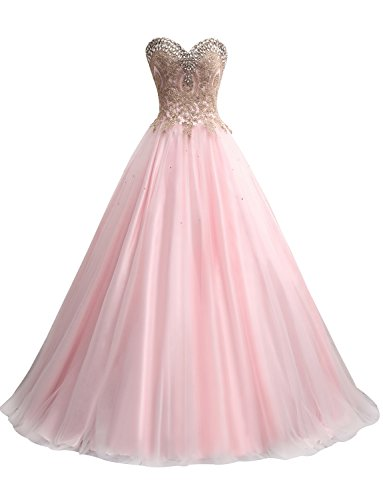Erosebridal Gold Embroidery Ball Gown Quinceanera Dresses Sweet 15 Dresses US 4 Soft ()