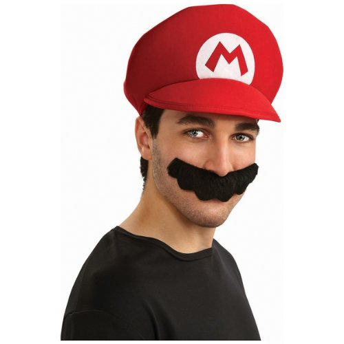 80s Movie Halloween Costumes (Super Mario Brothers Mario Hat And Mustache Kit, Standard Color, One Size)