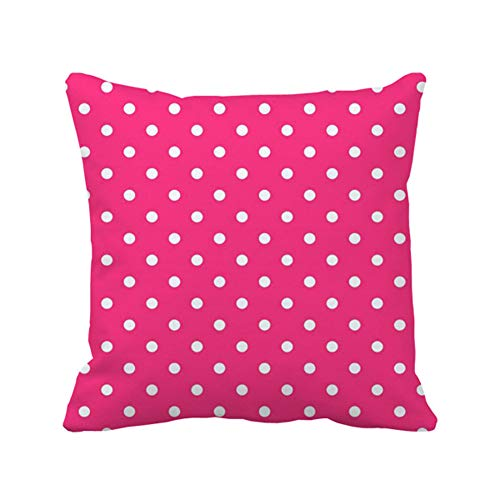Julyou Hot Pink Polka Dot Background Outdoor/Indoor Throw Pillow Covers 20 x 20in